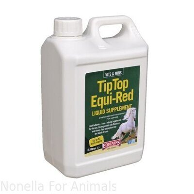 Equimins Tip Top Equi-Red Liquid Supplement jerrycan, 2.5 litre